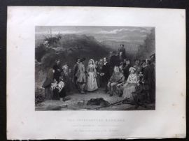 After Alex. Johnston 1846 Folio Antique Print. The Covenanters Marriage